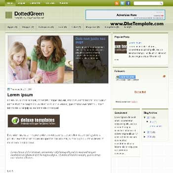 DottedGreen blogger template. template blogger magazine style template. template blogger with featured content slider