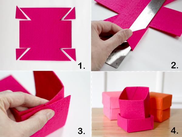 C mo hacer cajitas de fieltro portal de manualidades - Como hacer una cajita con cartulina ...