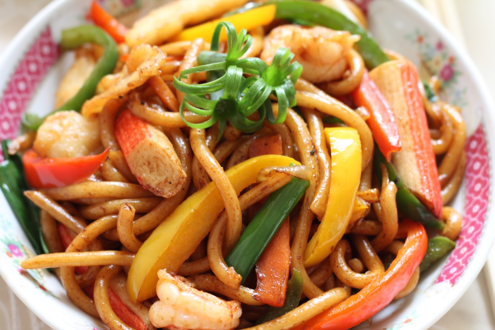 My Bare Cupboard Stir Fried Udon Noodles With Seafood In