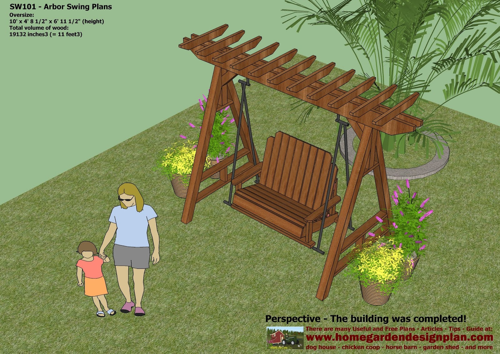 home garden plans sw101 arbor swing plans construction graden swing plans arbor swing design how to build a garden swing