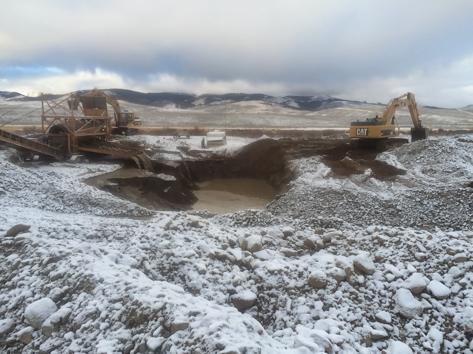 Getting some ice around our gold washplant in Montana