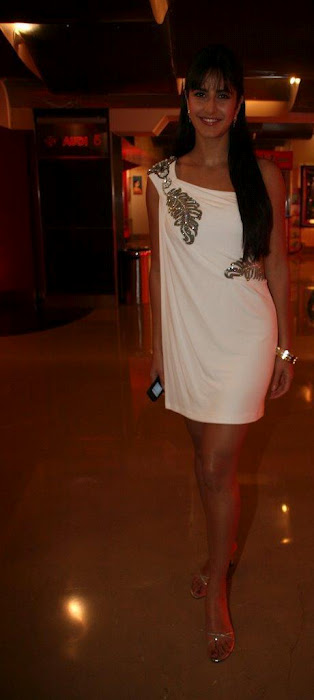 Most Search Actress Katrina Kaif in One Shoulder Dress White Short Skirt