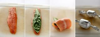 medvehagyma lazacpisztráng tekercs készítés fázis felvétel halfilé lazac pisztráng hal alufólia