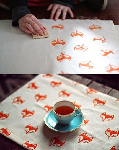 Estamapación textil con sellos carvados