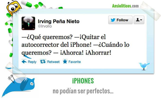 Chiste de Iphone Tweet sobre el Autocorrector
