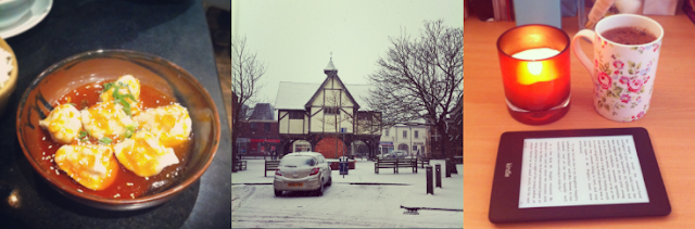 Spicy pork dumplings, Leicester, Market harborough, Snow, Amazon paperwhite kindle, Hot chocolate, Noble Isle scented candle