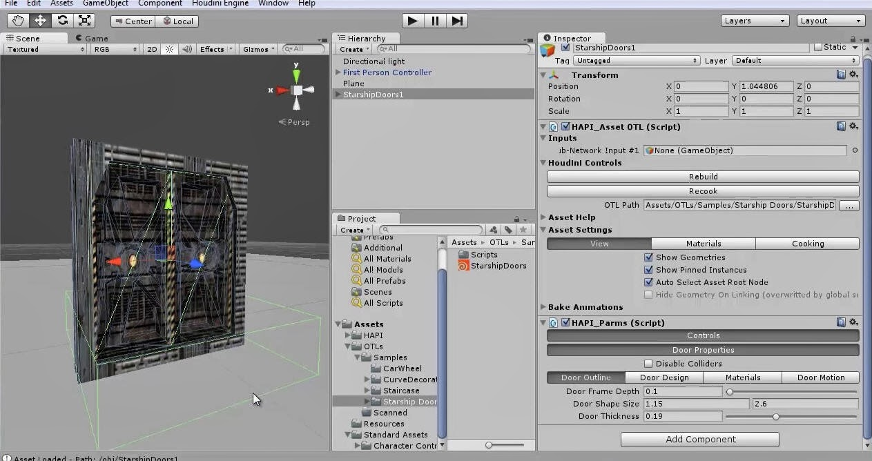 Houdini Engine for Unity Starship Doors Asset | CG TUTORIAL