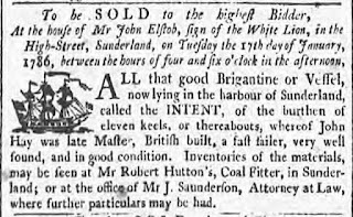 A newspaper advertisment illustrated with a little sailing ship, advertising the sale of the Brigantine Intent.