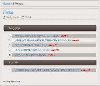 Modus Blogger, daftar halaman otomatis