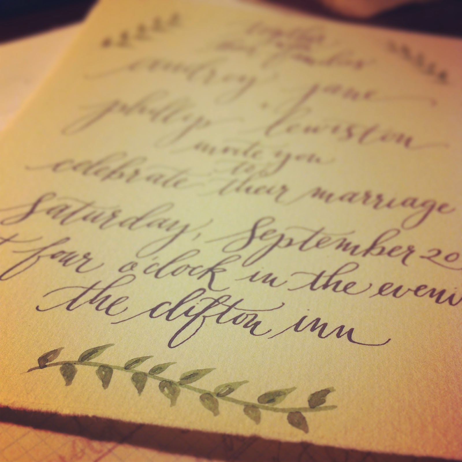 wedding invitation calligraphy