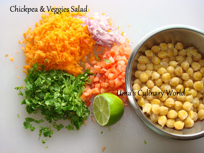 chana chaat or Chickpea Veggie salad