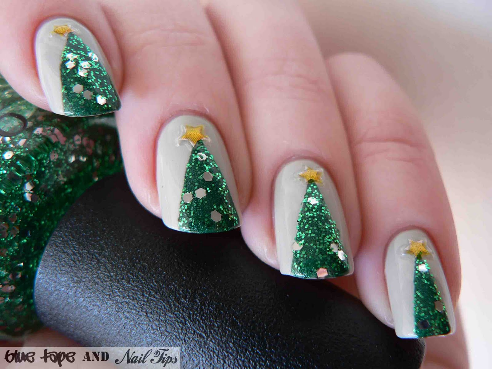 Blue Tape And Nail Tips Easy Christmas Trees
