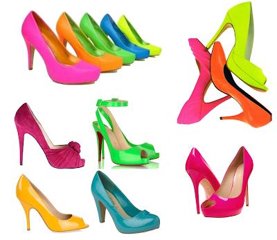 sapatos em neon