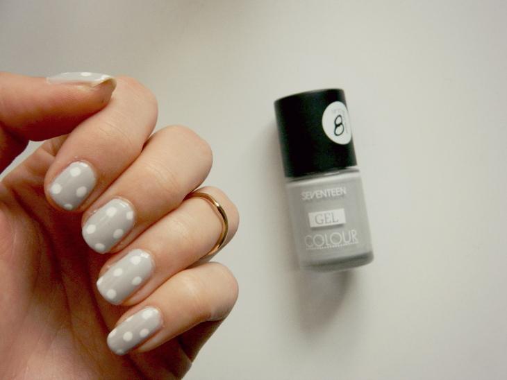 Love From Lisa Grey & White Polka Dot Nail Art