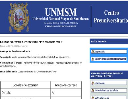 Resultados CEPREUNMSM Cuarto examen Pre San Marcos 2013 I 25 de Agosto 2013
