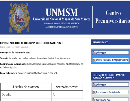 Resultados Primer examen Centro Preuniversitario San Marcos 2013 I 19 de Mayo 2013