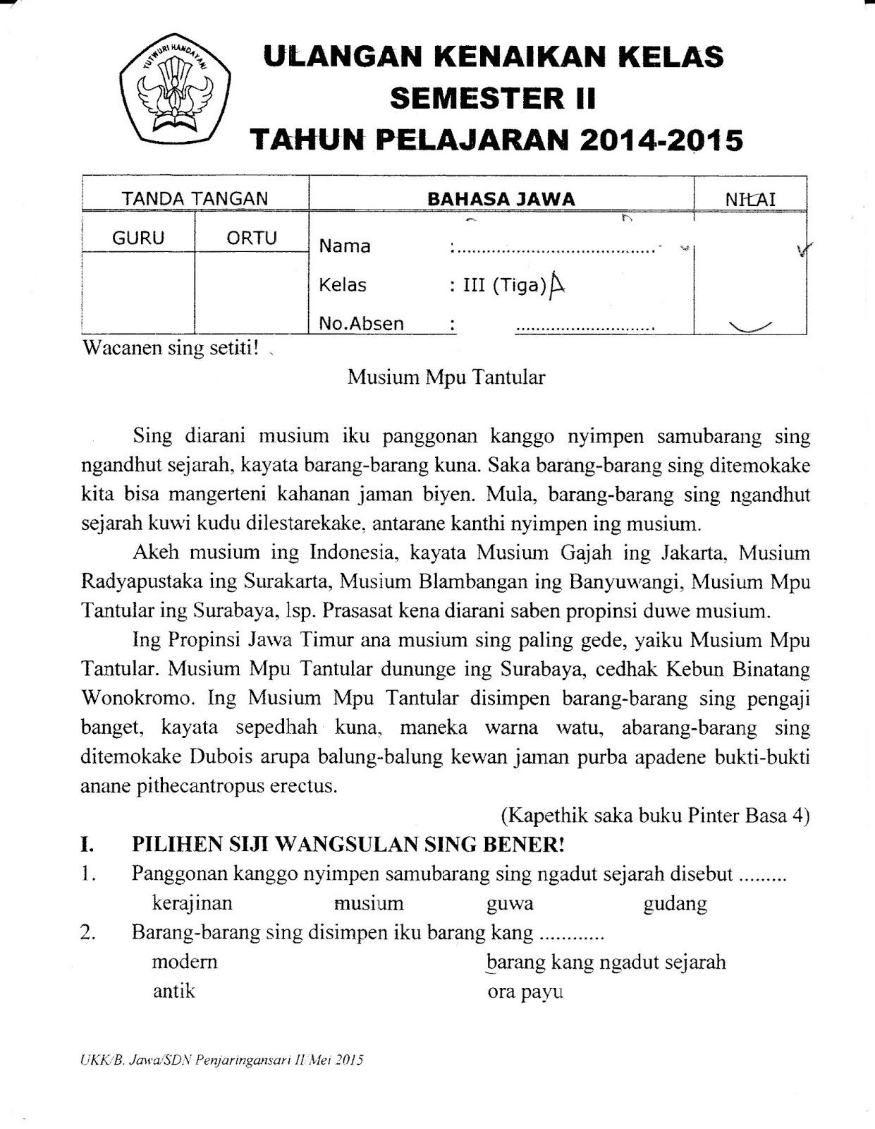 Ukk Bhs Jawa Kelas3 Semester Genap Ta 20142015 Sunarto S Kom