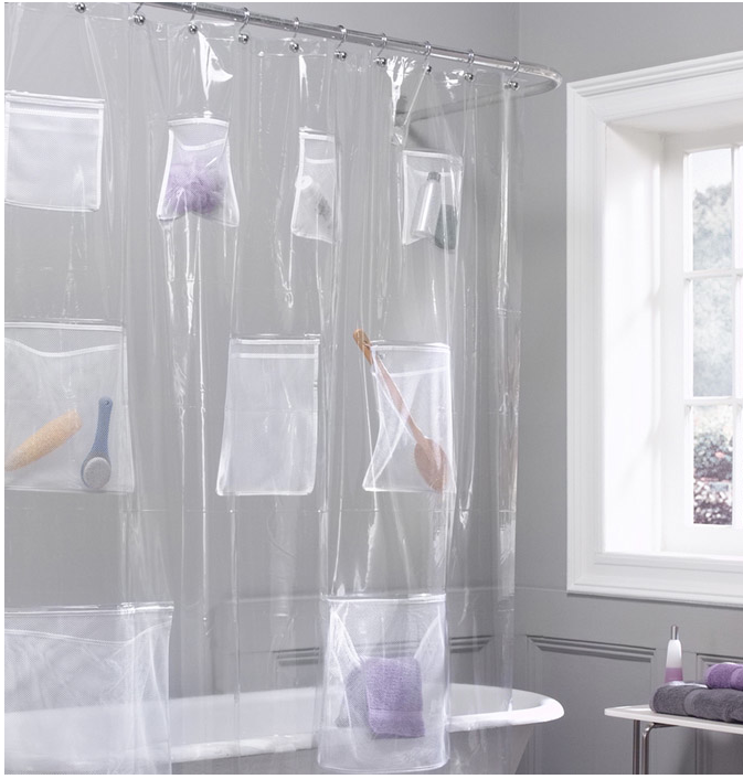 Bathroom Organizing: Shower Curtains with Pockets