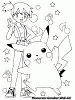 Gambar Pikachu Menari Untuk Mewarnai