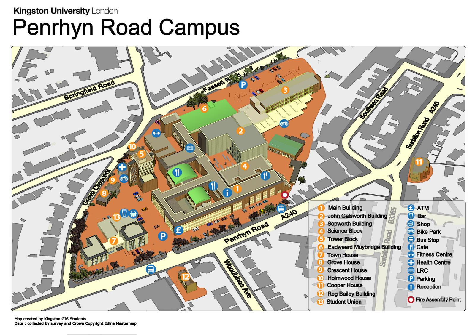 3D map of Kingston university
