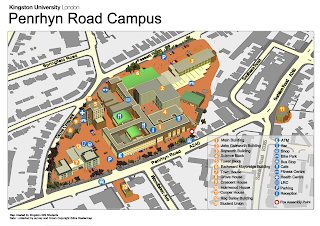 3D map of Kingston university Penryhn road campus.