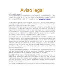 LEY DE PROTECCIÓN DE DATOS PAGINA WEB - AVISO LEGAL