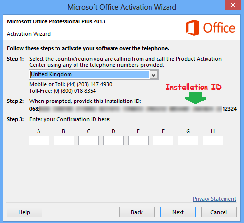 office 2013 telephone activation keygen