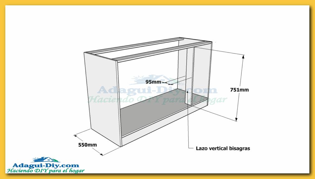 Como hacer muebles de cocina plano mueble bajo mesada de for Medidas estandar de cocinas integrales