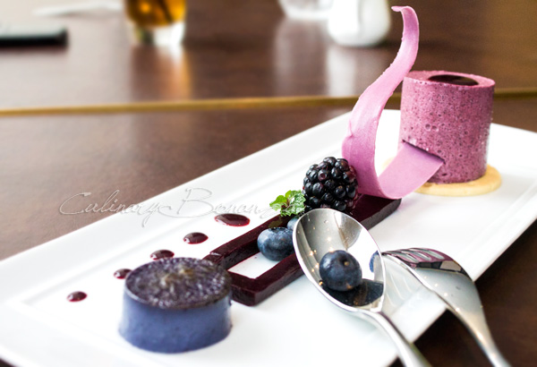 Auroz Gourmet Grill: Variations About The Blueberries. a platter with all sorts of products made with blueberries. There's the blueberry creme brulee (foreground), blueberry jelly with the real fruits and the blueberry souffle (background)