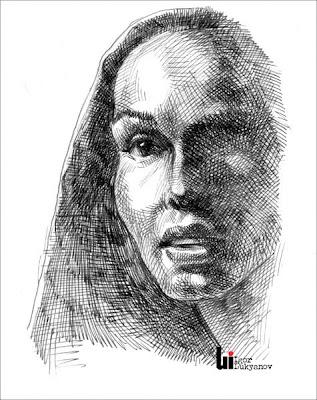 Portrait d'une femme par Igor Lukyanov (technique de dessin hachures croisées)