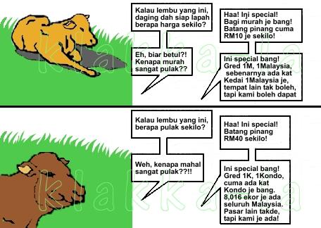 Kelakar 1Malaysia:  Kedai 1Malaysia, Lembu 1Kondo (1Malaysia Joke: 1Malaysia Shops, 1Condo Cows) www.klakka-la.blogspot