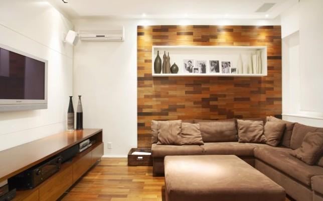 Sala De Tv Com Sofá Marrom ~ Meu Palácio de 64m² Decorações de parede cor madeira