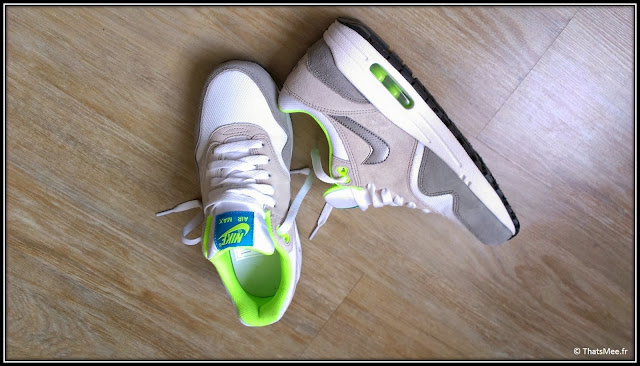 sneakers nike air max 1 kids enfants gris vert fluo