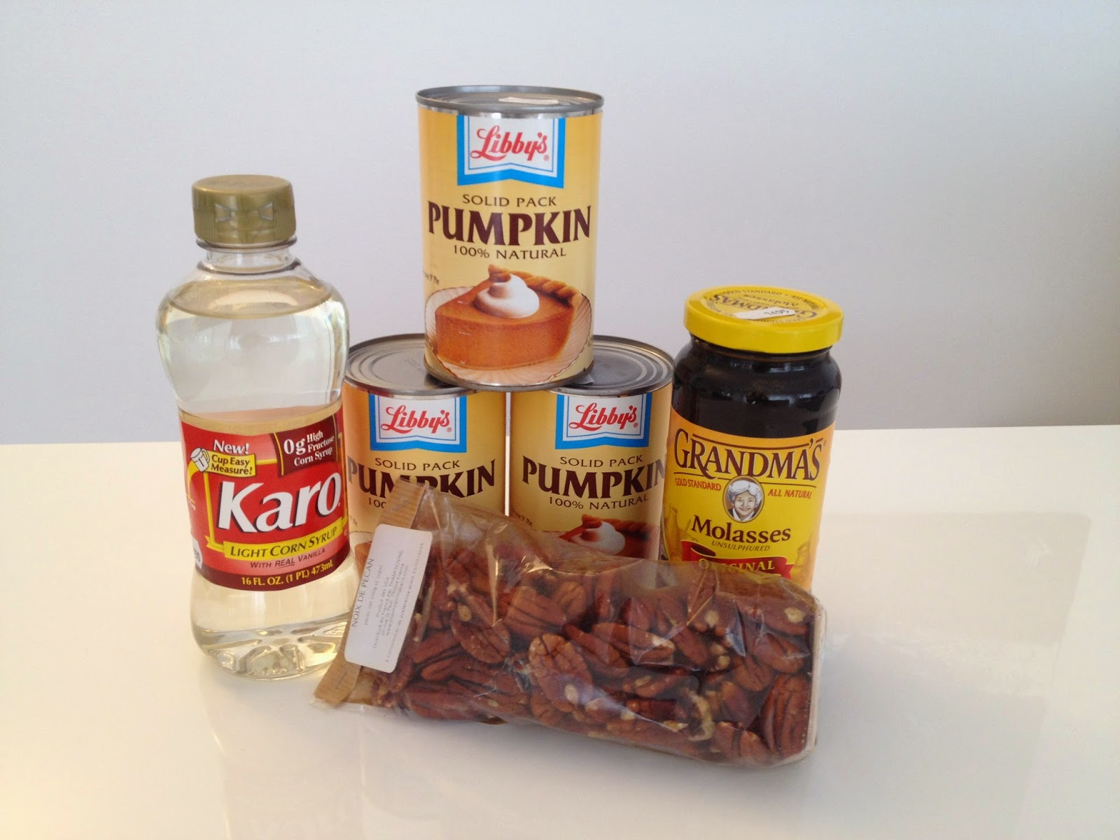 Canned pumpkin, molasses, Karo and pecans