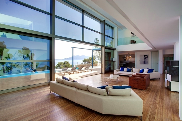 Modern living room in Modern mansion on the cliffs of Mallorca