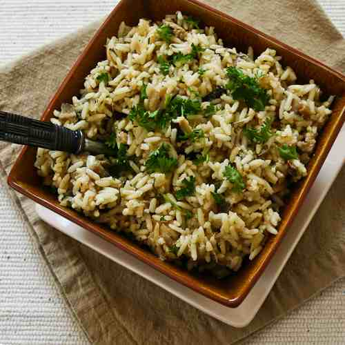 ... Recipe for CrockPot Rice with Dried Mushrooms, Herbs, and Parmesan