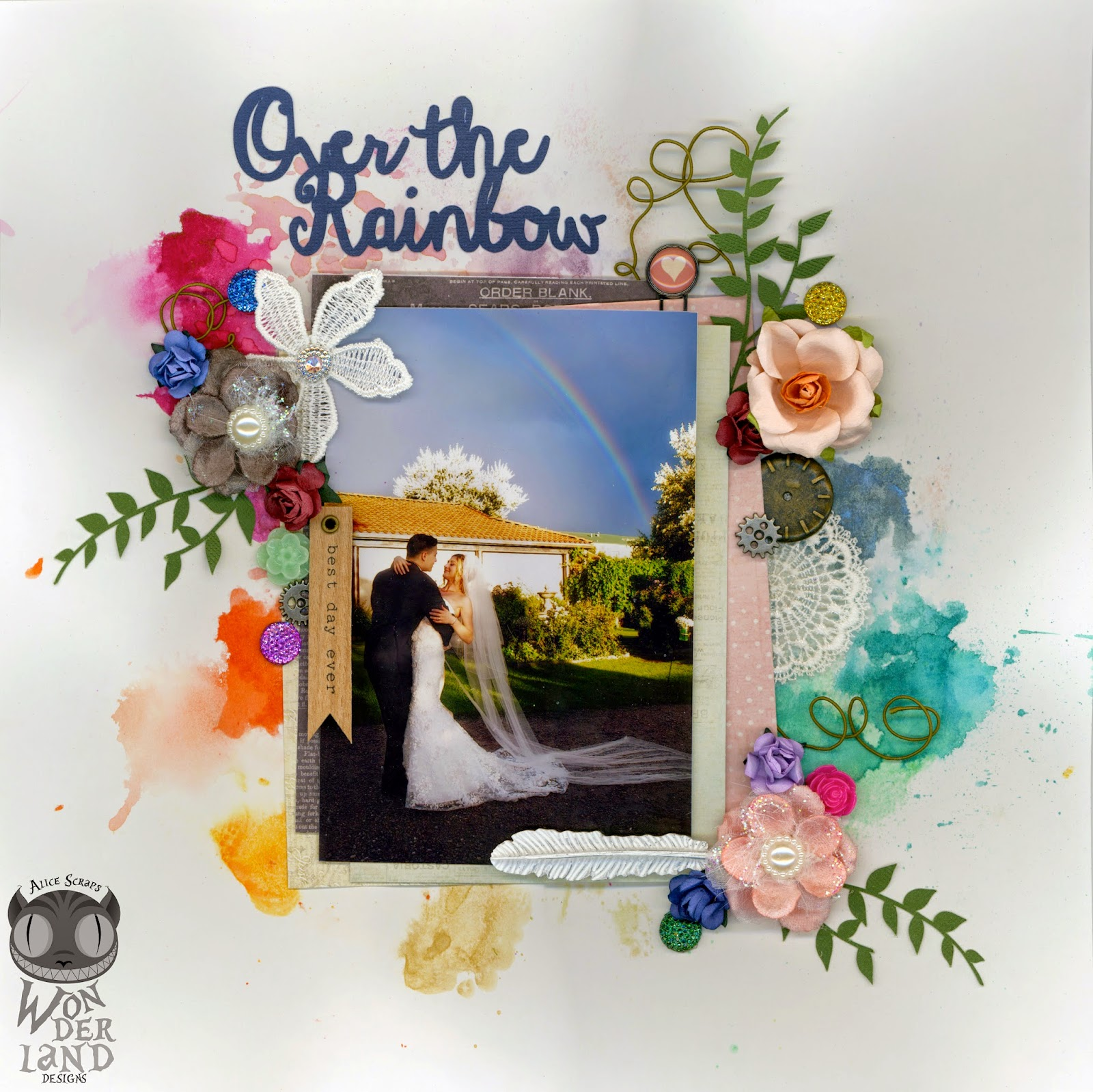 Over the Rainbow uses a mix of mists and inks to create the colorful background inspired by the rainbow in the wedding photograph | Alice Scraps Wonderland