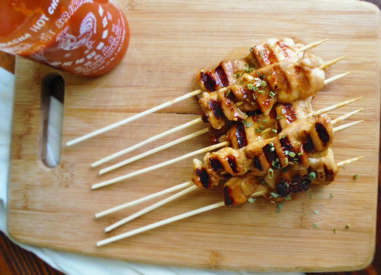 Grilled Honey Sriracha Chicken Skewers