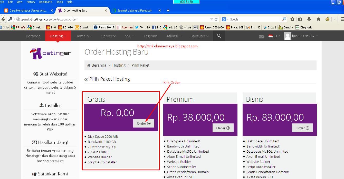 Cara Order Hosting di Idhostinger.com