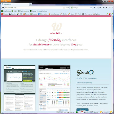 Screen shot of http://winnielim.com/.