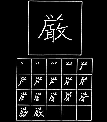kanji keras, parah