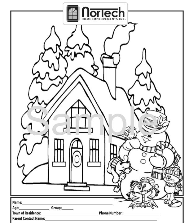 Free Colouring Page available on the Nortech Home Improvemant Bobcaygeon Website