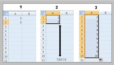 cara membuat nomor urut di Microsoft excel 2007
