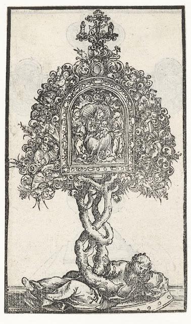 Reliekhouder met de boom van Jesse en Maria met kind, Lucas Cranach (I), 1509 - 1549