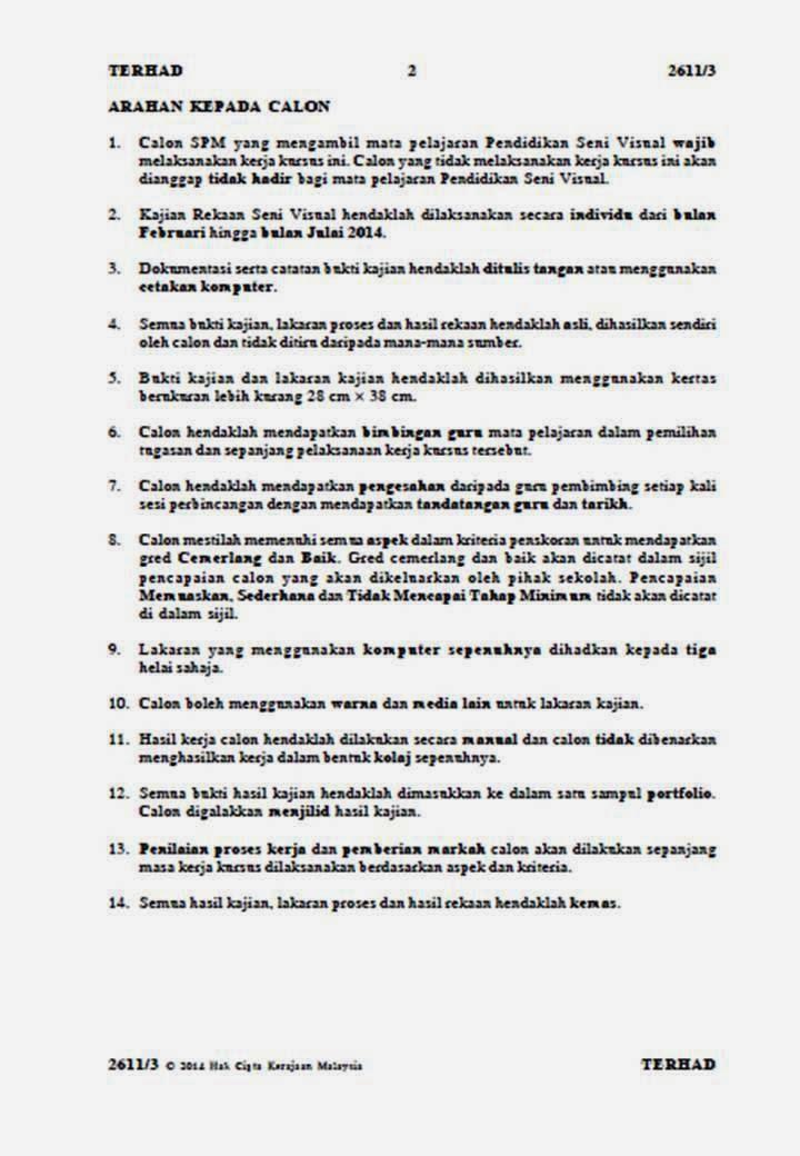 Soalan Kerja Kursus PSV, SPM 2014