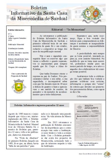 Boletim Informativo da Santa Casa da Misericórdia de Sardoal