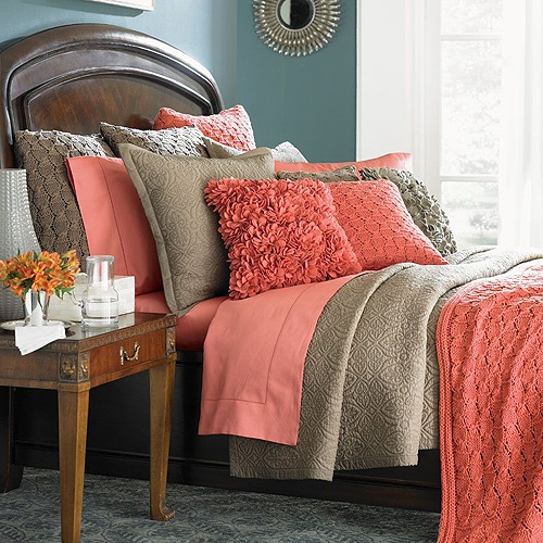 You Can Almost Feel A Tropical Breeze In This Exotic Setting. The  Combination Of Hues Of Salmon Just Seem To Pop On This Beautiful Bedu2026the  Hints Of Pink In ...