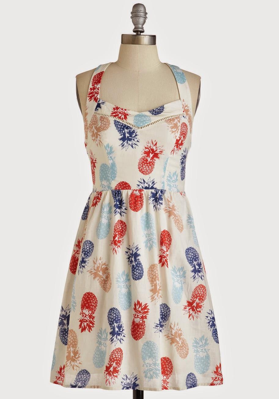 modcloth whimsical and the gang pineapple print dress