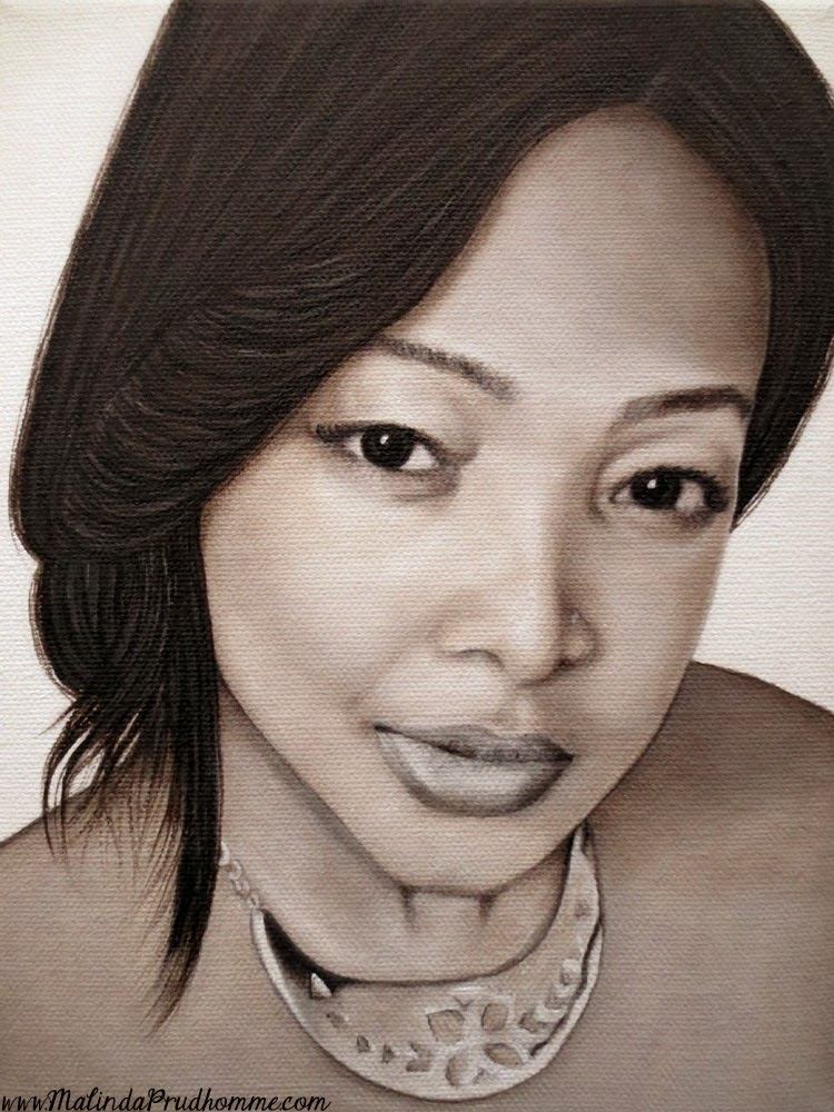 beauty art, portrait artist, portrait painting, oil painting, black and white portrait, realistic art, original artwork, custom artwork, affordable art, malinda prudhomme, toronto artist