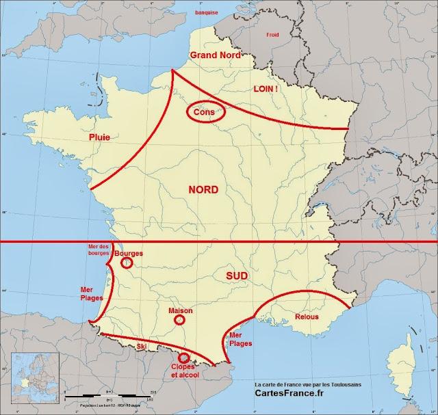 Carte de France vue par les Toulousains